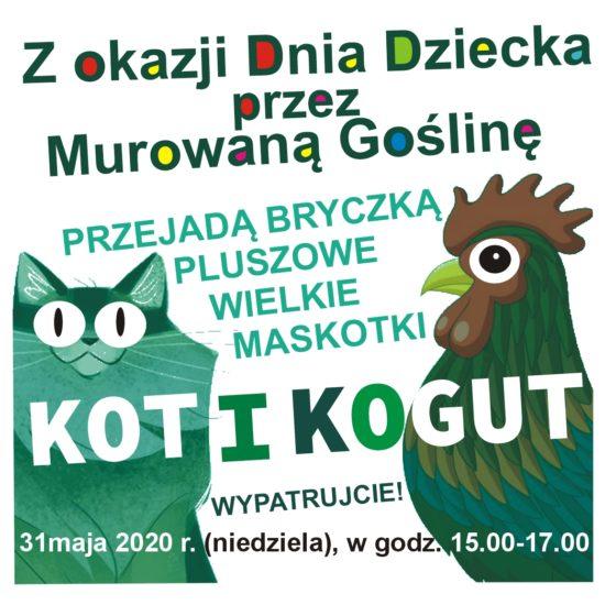 Dzień dziecka - przejazd bryczki pluszowych wielkich maskotek Kota i Koguta
