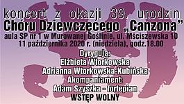 """Koncert z okazji 39 urodzin Chóru Dziewczęcego """"Canzona"""""""