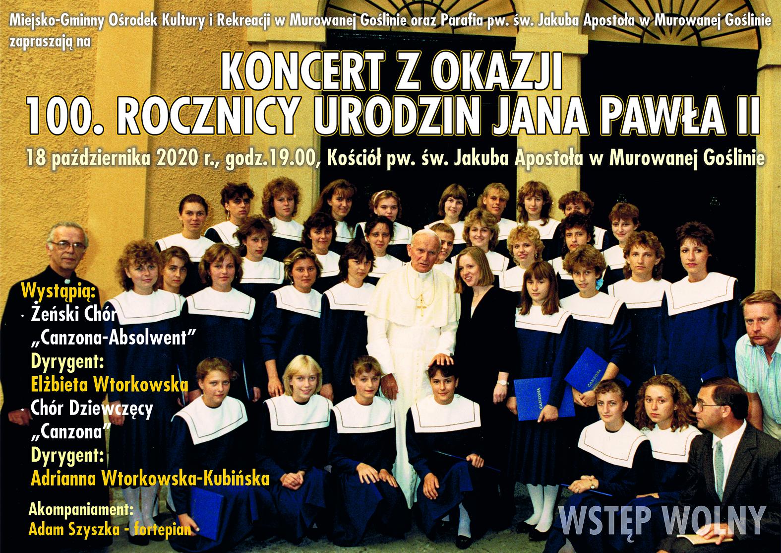 """Plakat przedstawia zdjęcie Chóru Dziewczęcego """"Canzona"""" podczas prywatnej audiencji u Ojca Świętego Jana Pawła II w 1988 roku. Na zdjęciu znajduje się tekst informujący o wydarzeniu."""