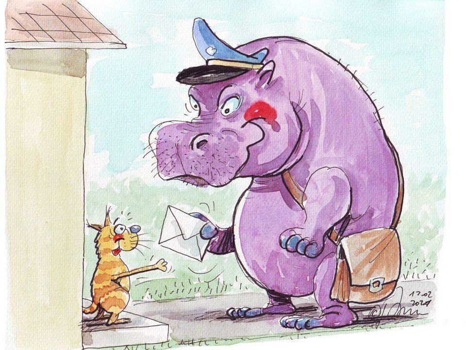 Hipopotam z torbą