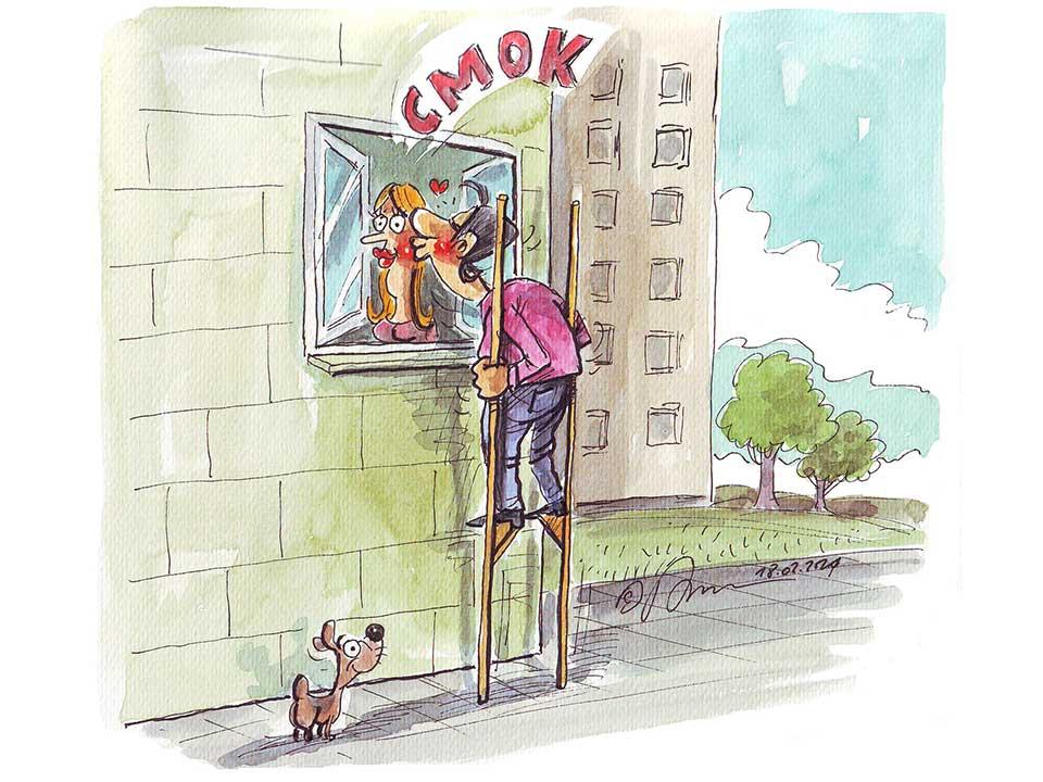 Barwna ilustracja satyryczna