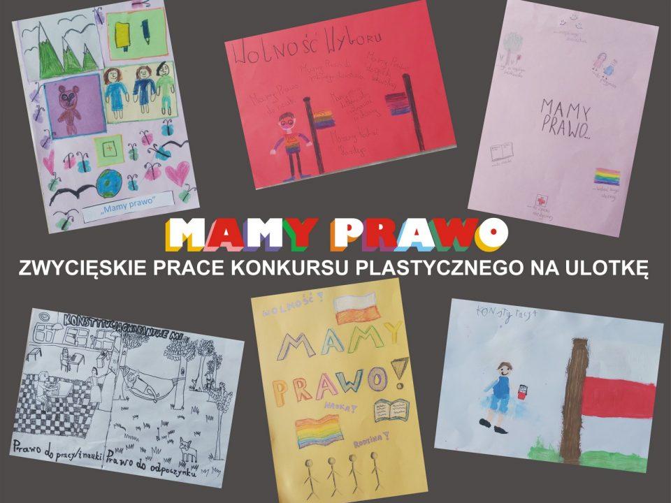 Sześć prac plastycznych