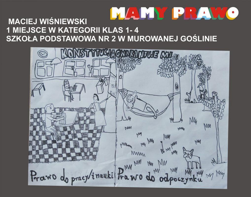 Maciej Wiśniewski 1 miejsce w kategorii klas 1 – 4 Szkoła Podstawowa nr 2