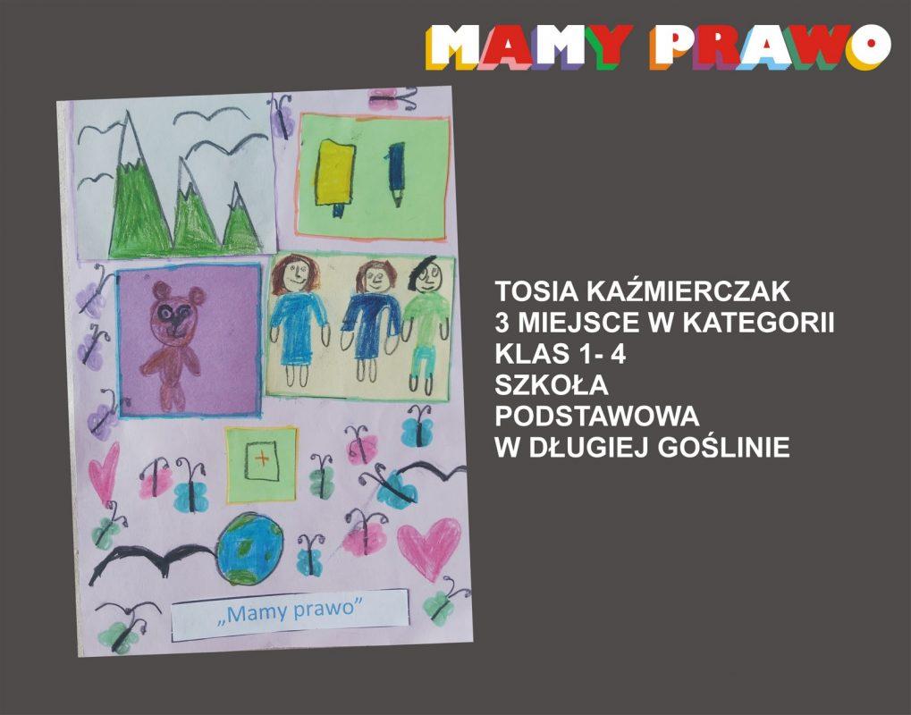 Tosia Kaźmierczak 3 miejsce w kategorii klas 1 – 4 Szkoła Podstawowa w Długiej Goślinie