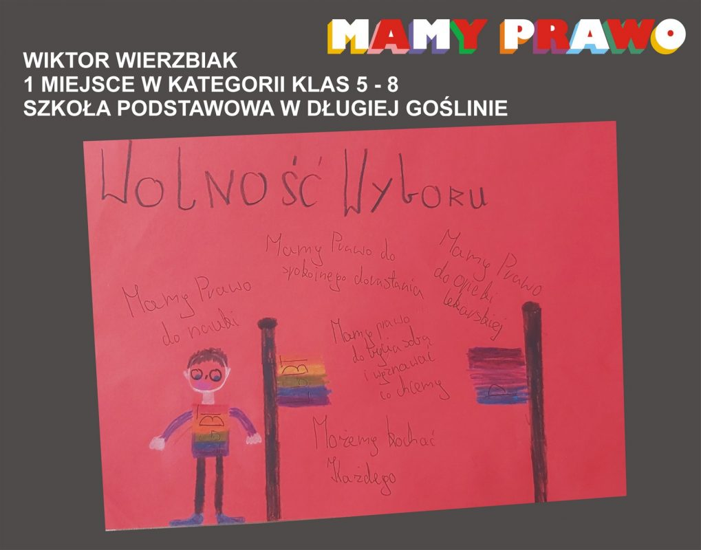 Wiktor Wierzbiak 1 miejsce w kategorii klas 5 – 8 Szkoła Podstawowa w Długiej Goślinie