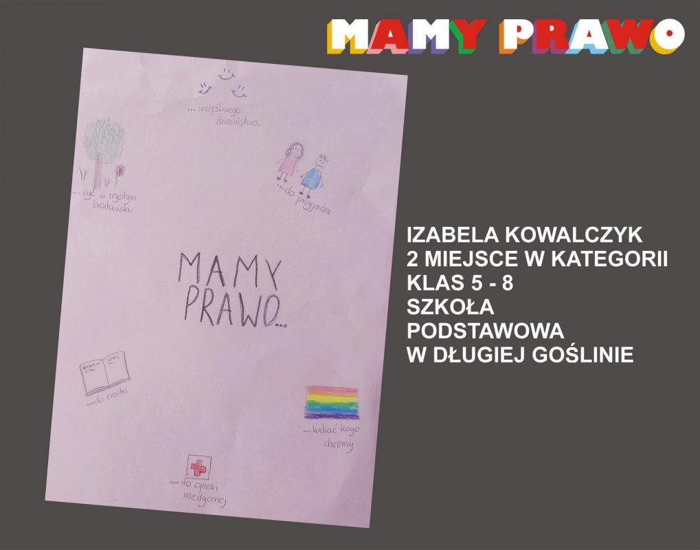 Izabela Kowalczyk 2 miejsce w kategorii klas 5 – 8 Szkoła Podstawowa w Długiej Goślinie