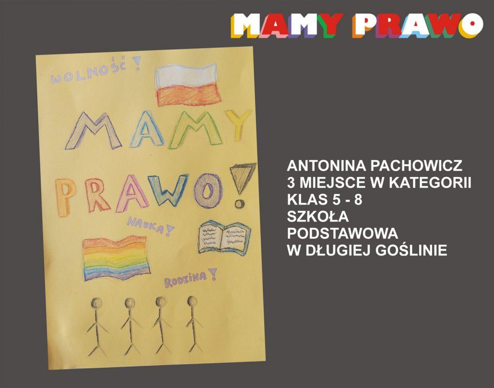 Antonina Pachowicz 3 miejsce w kategorii klas 5 – 8 Szkoła Podstawowa w Długiej Goślinie